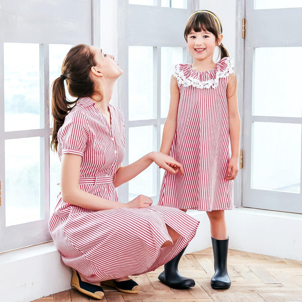 (Mommy & Me) Red strip dress (set of 2)