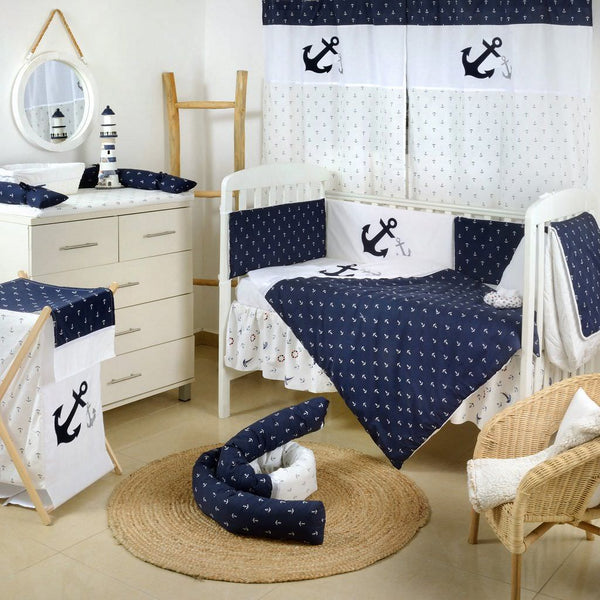 Navy Anchor Patch Nautical Crib Beding