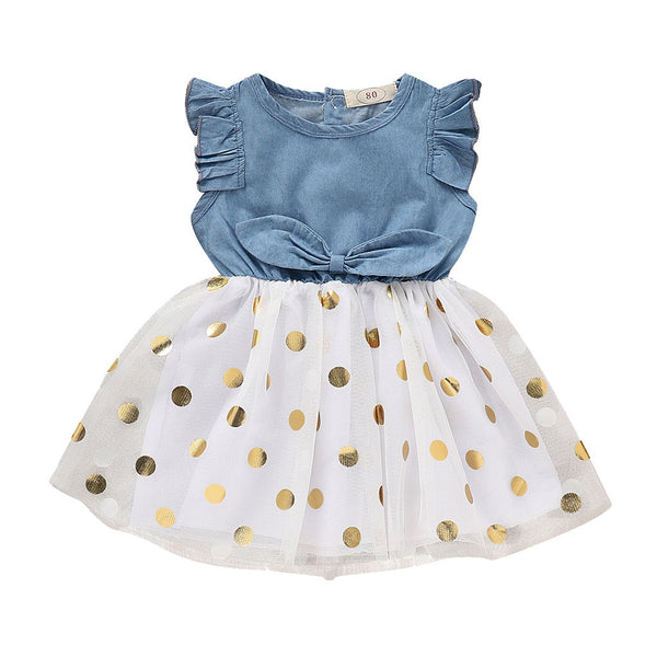 Summer New Fashion Toddler Baby Girls Sleeveless Dot Print Denim Bow Dress Tulle Dresses Clothes Wholesale Free Ship Z4