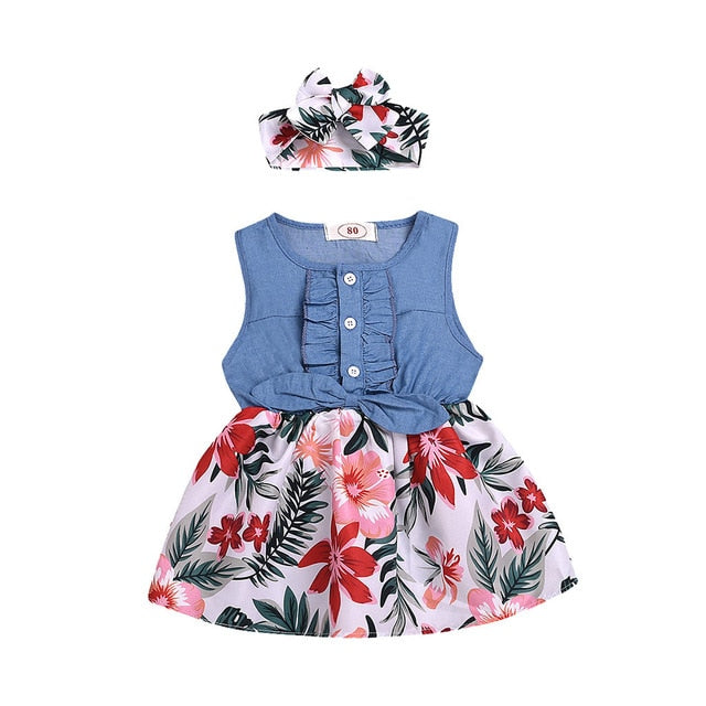 Summer New Fashion Toddler Baby Girls Sleeveless Bow Flower Leaf Print Denim Dress+Headband Outfits Wholesale Free Ship Z4