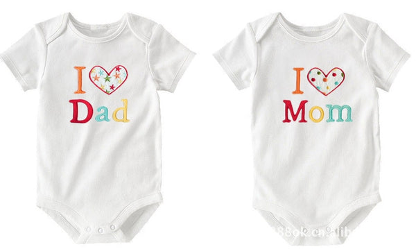 2 Pieces Newborn Baby Pure Clothes Baby Conjoined Clothes Short-sleeved Letters Baby Rompers In Summer