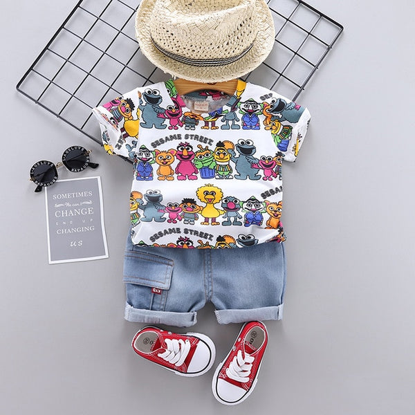 Children Clothing Boys Summer Cartoon Shorts Denim Pants Sport Suit Baby Kids Short Sleeve T Shirt Jeans Clothes Sets