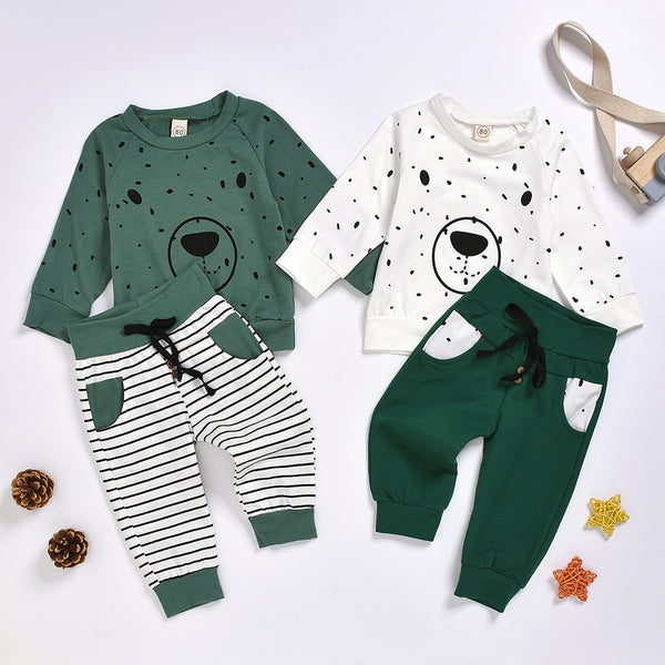 Newborn Clothes Kids Clothes Baby Boy Clothes roupa infantil Cartoon Bear Sweatshirt Tops+ Pants Outfits Set Free Ship Z4