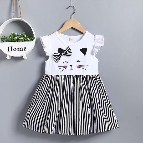 Summer New Fashion Toddler Kid Baby Girl Sleeveless Cat Printed Striped Princess Dress Clothes Wholesale Free Ship Z4