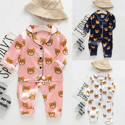 Autumn New Fashion Toddler Baby Boys Long Sleeve Cartoon Bear Tops+Pants Pajamas Sleepwear Outfits Free Ship roupa infantil Z4