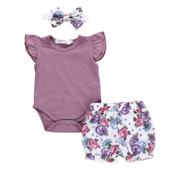 Summer New Fashion Newborn Kids Baby Girls Outfits Clothes Daily Bodysuit+Flower Print Shorts Set Wholesale Free Ship Z4