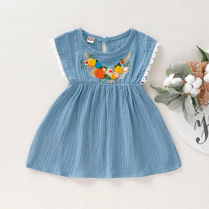 New Fashion Summer Toddler Baby Girls Sleeveless Embroidery Floral Flower Ruffles Lace Dress Wholesale Free Ship Z4
