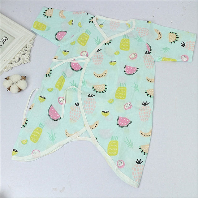 Cartoon Newborn Summer Rompers Baby Girls Clothes Short Sleeve Striped Print Jumpsuit Playsuit Kids Climbing Costume 0-12 Momths