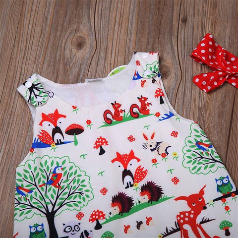 Newborn Baby Girl Clothes Toddler Floral Headband Cartoon Dress
