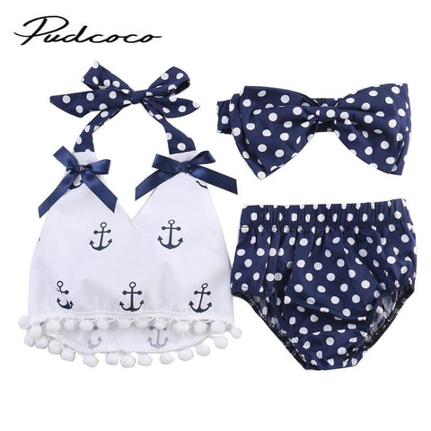 Rompers Clothes Sets Anchors Bow Top+Polka Dot Briefs+Head band 3pcs Sleeveless