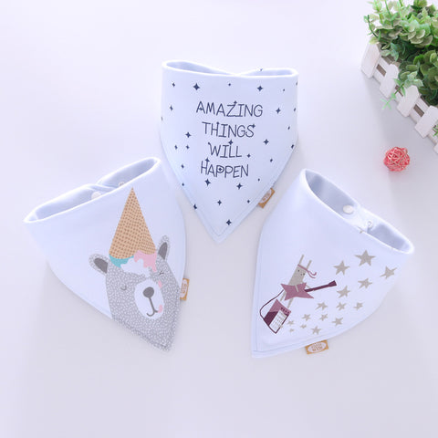 Baby Bandana Drool Bibs- Infant Burp Cloths Cartoon Saliva Towel
