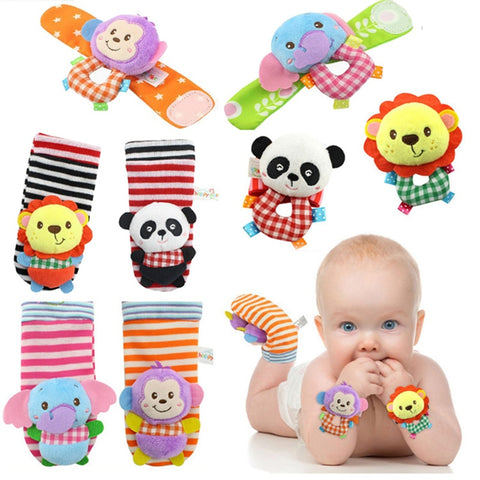 Baby Infant Soft Handbells Hand Wrist Strap Rattles/Animal Socks Newborn Finders Stuffed Christmas Toys - Baby Wrist Rattle