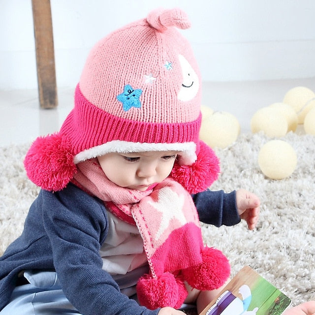 New Baby Hat Fashion Baby Hat Scarf Set Children Winter Hats For Boys And Girls Cotton Warm Knitted Cap Fit Baby 6 To 24 Months