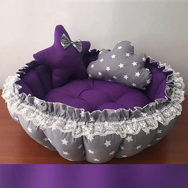 Reversible Baby Nest - Portable Baby Lounger and Play Mat Activity Gym with Bonus Star Shaped and Cloud Shaped Design Pillows Baby Bed - Baby Essentials for Newborn 0-24 Months