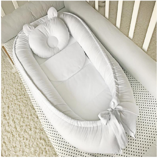 Baby Lounger Baby Nest Set - Portable Newborn Lounger Cosleeper 100% Organic Cotton Lux Fabric Infant Floor Seat - Baby Essentials for Newborn 0-24 Months