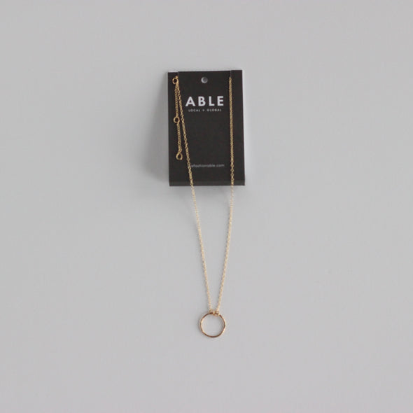 Able Floating Circle Necklace - Gold