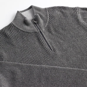 The Normal Brand Waffle Knit 1/4 Zip - Charcoal