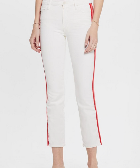 Mother Denim Dazzler Crop - Whipping the Cream Pink Racer