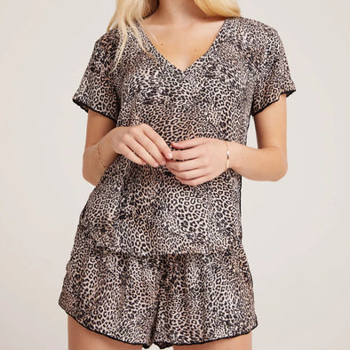 Bella Dahl Sleep Tee & Short - Golden Leopard