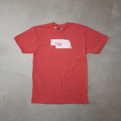 Locally Grown Mens Nebraska Solid State - Heather Red
