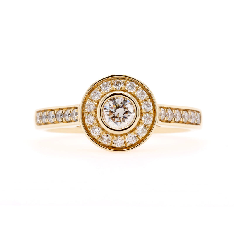 Yellow Gold Halo Style Diamond Ring