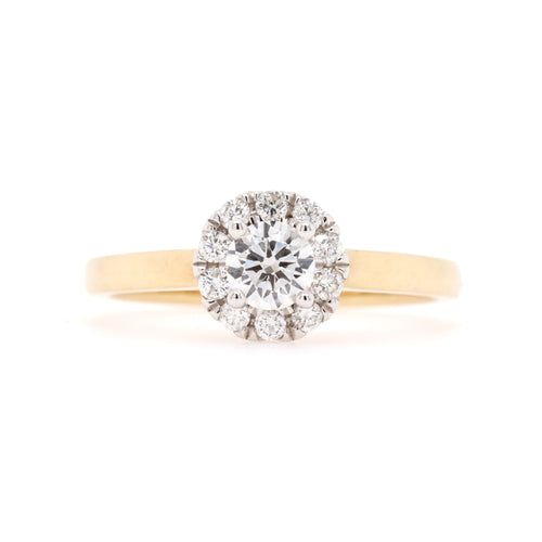 9ct Yellow Gold Diamond Halo Engagement Ring TDW= 0.50ct