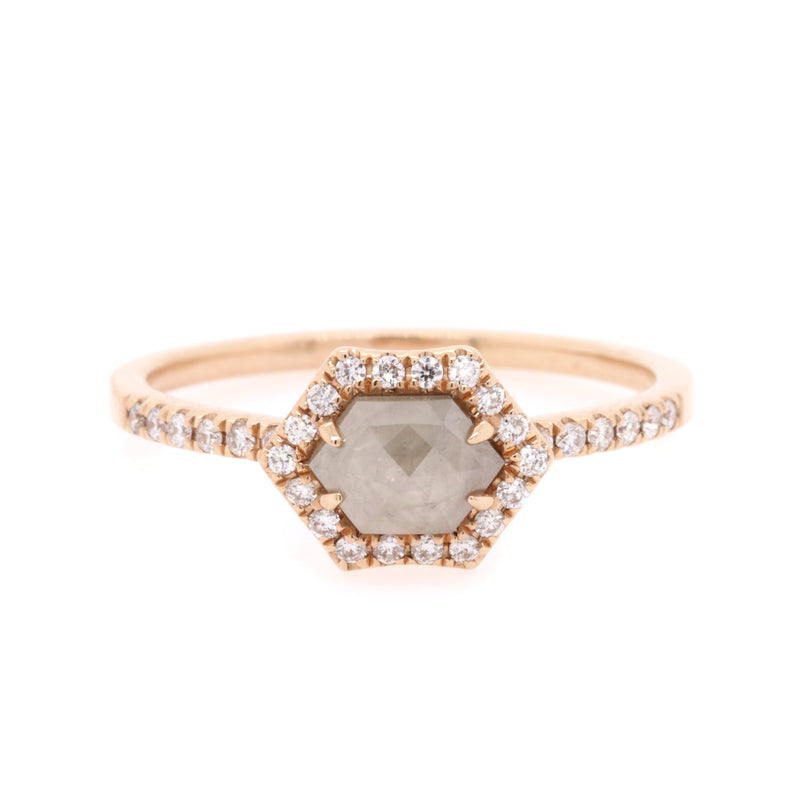 Rose gold diamond slice ring, 0.68ct TDW