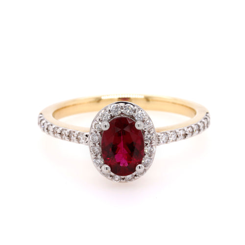 Yellow Gold Rubellite and Diamond Ring