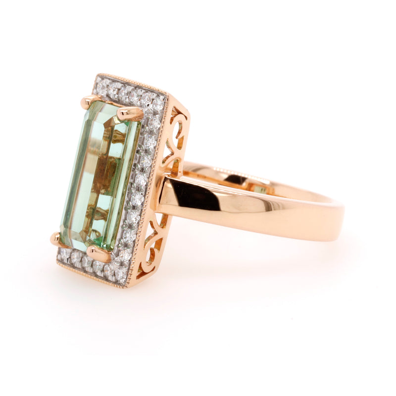 18ct Rose Gold Tourmaline and Diamond Ring