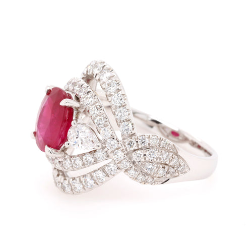 18ct White Gold 2.50ct Ruby Ring with 1.46ct of Diamonds