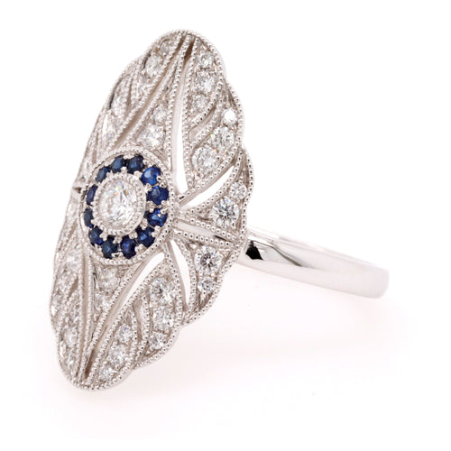 Vintage Diamond and Sapphire Shield Ring