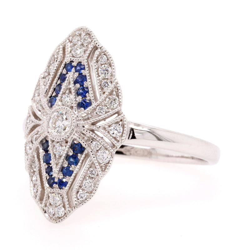 Antique Style Sapphire and Diamond Dress Ring