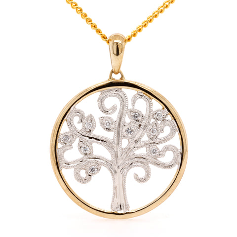 Yellow and White Gold Tree Of Life Pendant