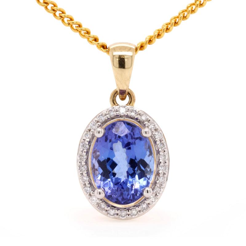 Yellow Gold Tanzanite and Diamond Pendant