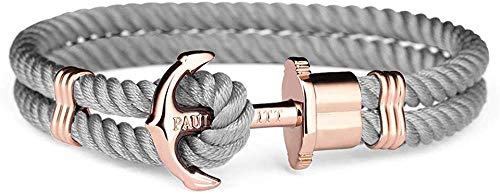 Paul Hewitt Anchor Bracelet PHREP IP Rose Gold Nylon Grey S (17 cm)