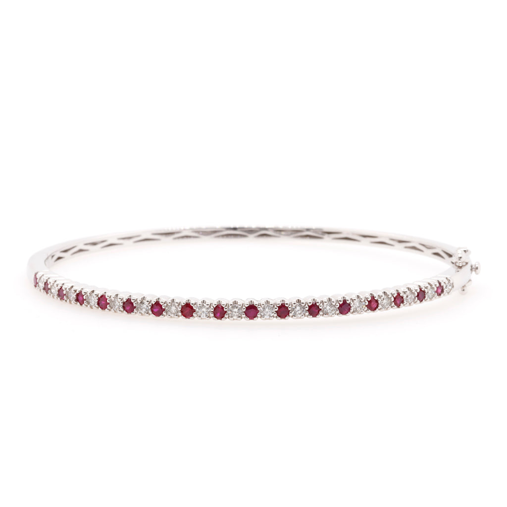 White Gold Ruby and Diamond Bangle