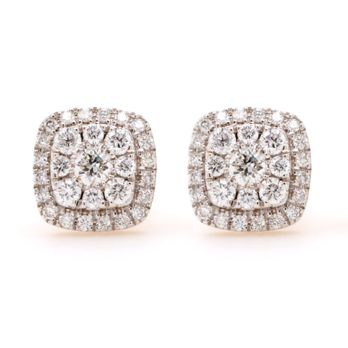 Yellow Gold Diamond Cluster Earrings 0.51ct