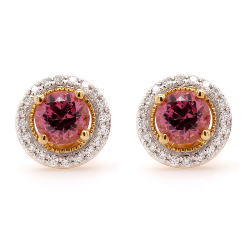 Malaya Garnet Halo Earrings