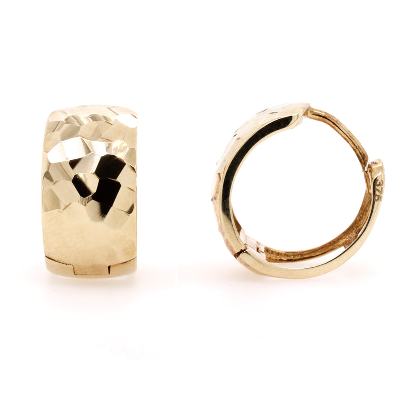 9ct Yellow Gold Dimple Design Huggie Earrings