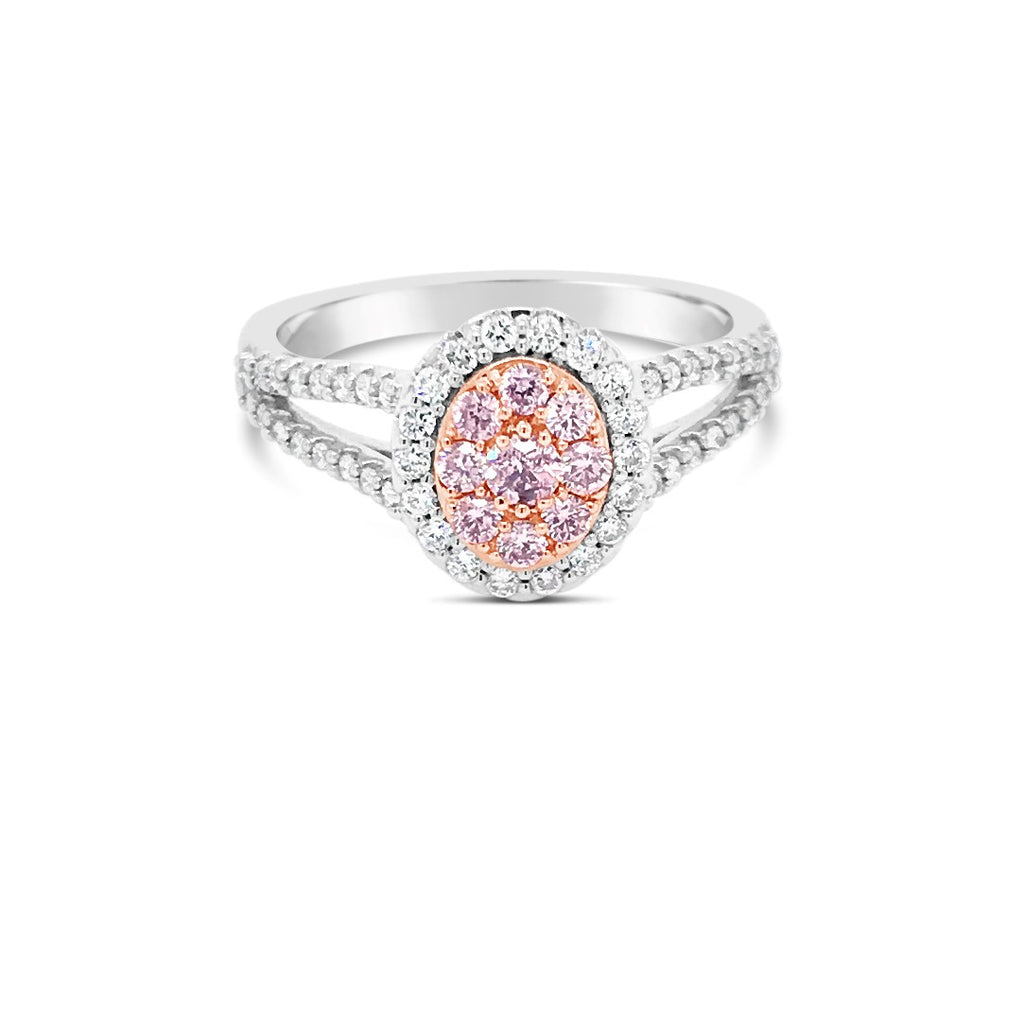 Argyle Pink diamond halo ring split band 0.54ct