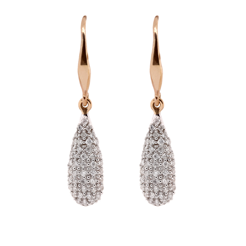 Pave diamond set drops Yellow Gold - Duffs Jewellers