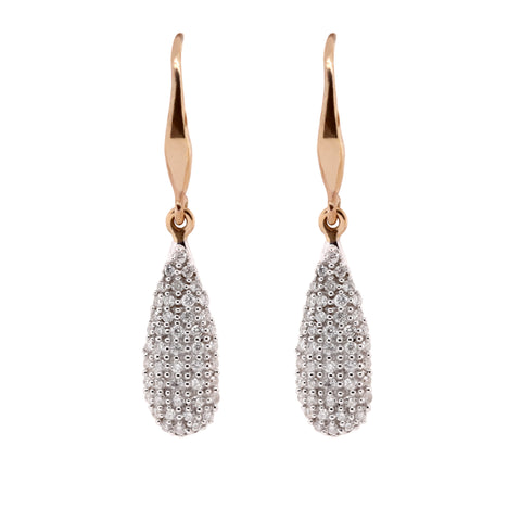 Pave diamond set drops Yellow Gold