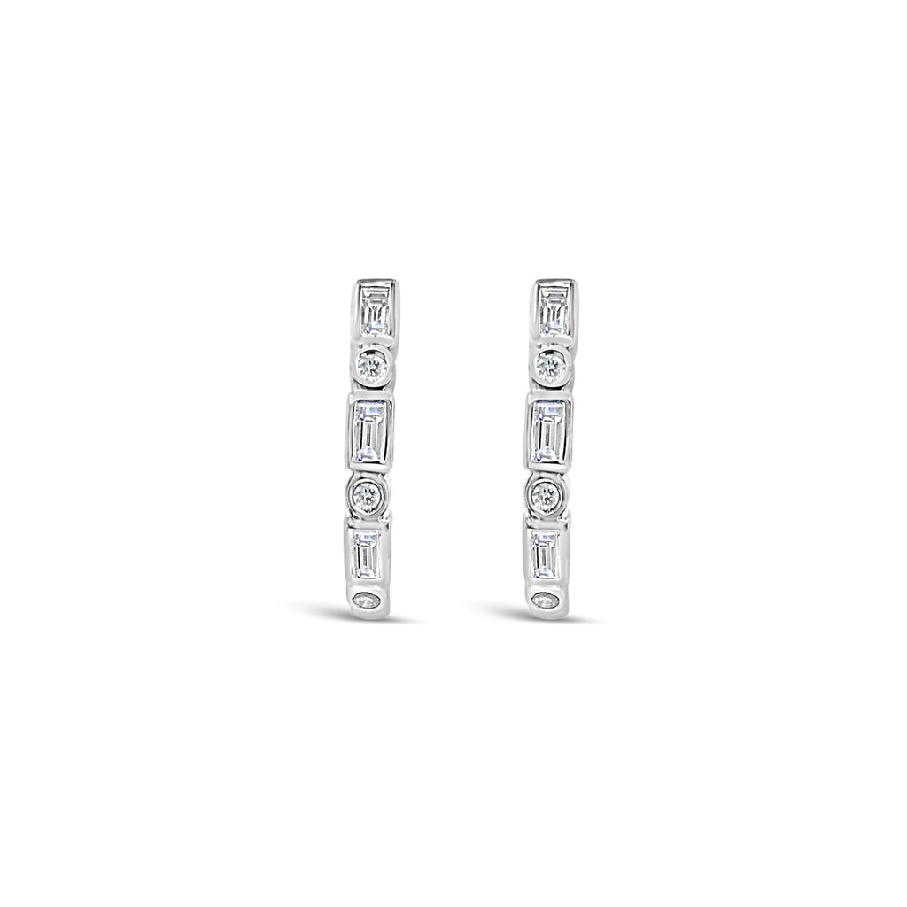 White gold alternating diamond earrings