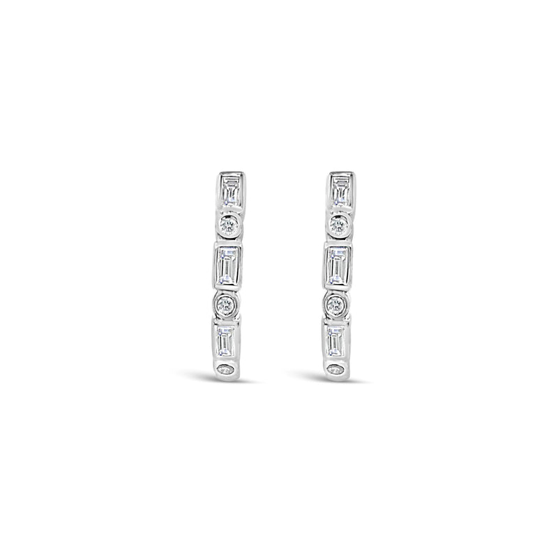 White gold alternating diamond earrings - Duffs Jewellers