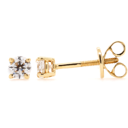 Stud Earrings with 0.50 Carat Total Weight of Diamonds in 18ct Yellow gold - Duffs Jewellers