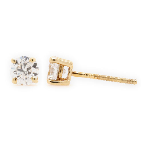 Stud Earrings with 1.00 Carat Total Weight of Diamonds in 18ct Yellow gold - Duffs Jewellers