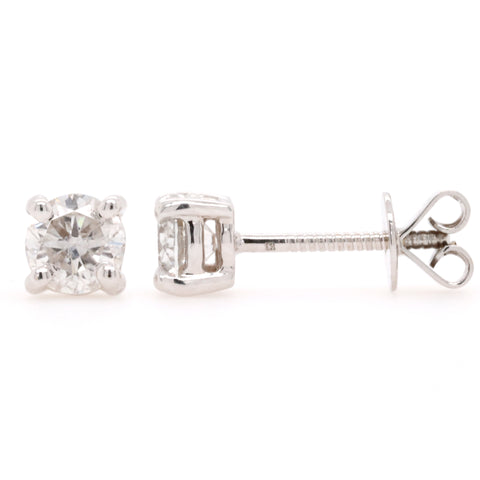 Stud Earrings with 0.90 Carat Total Weight of Diamonds in 18ct White gold