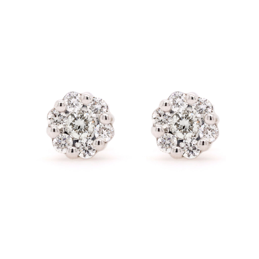 Cluster Stud Earrings with 0.33 Carat Total Weight of Diamonds in 9ct White Gold - Duffs Jewellers