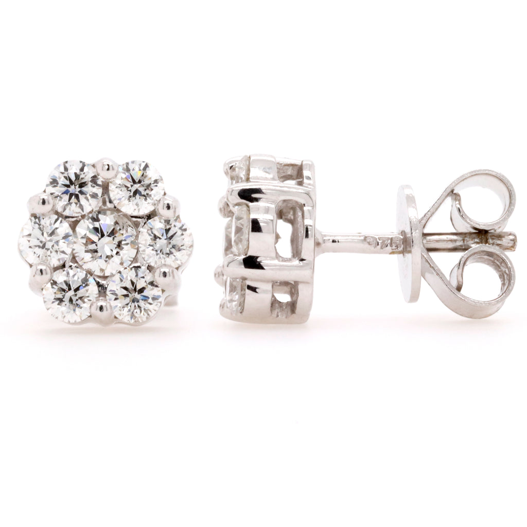 Cluster Stud Earrings with 1.00 Carat Total Weight of Diamonds in 9ct White Gold - Duffs Jewellers
