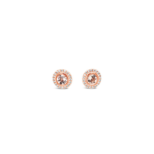 Morganite and diamond halo earrings - Duffs Jewellers
